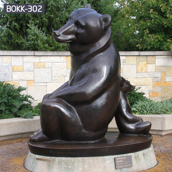 Modern bronze casting fishing bear statue online shop