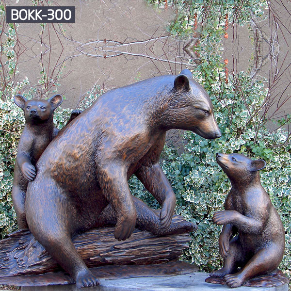 Contemporary life size fishing bear statue animal yard sculptures for sale