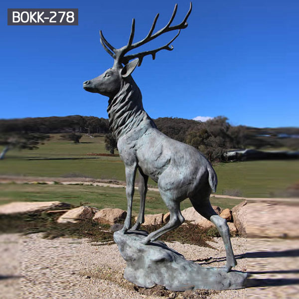 modern decoration brass deer yard statue for home decor