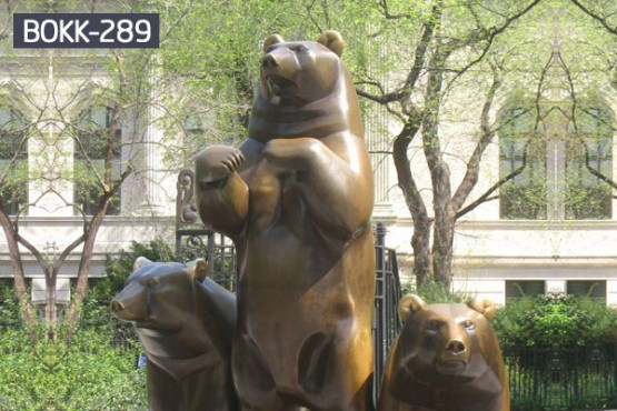 Large bronze animal statues of mother bear and cub yard ornaments BOKK-289