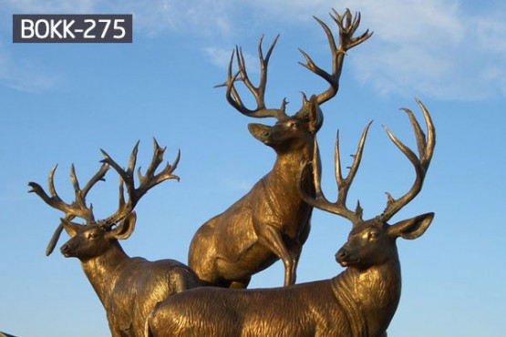 Life size bronze stag statues for garden ornaments BOKK-275