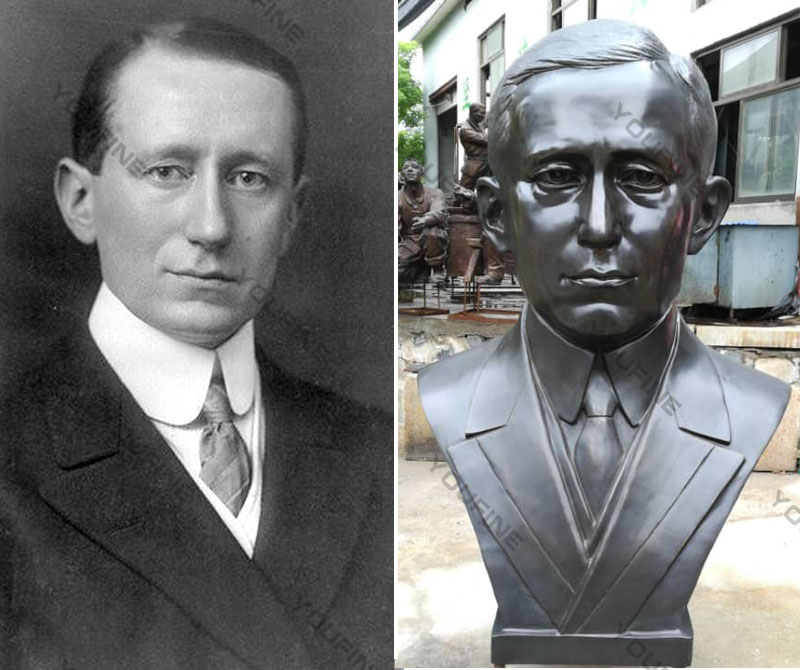 Affordable custom bronze bust of Marconi outdoor head statues from photo designs