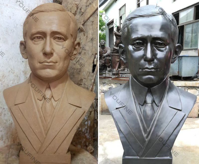 Affordable custom bronze casting bust of Marconi outdoor head statues for sale