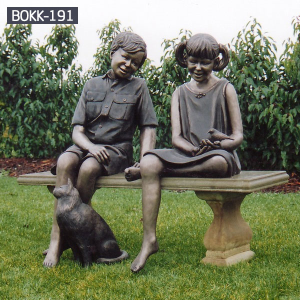 Boy and girl children garden statues outdoor lawn ornaments BOKK-191