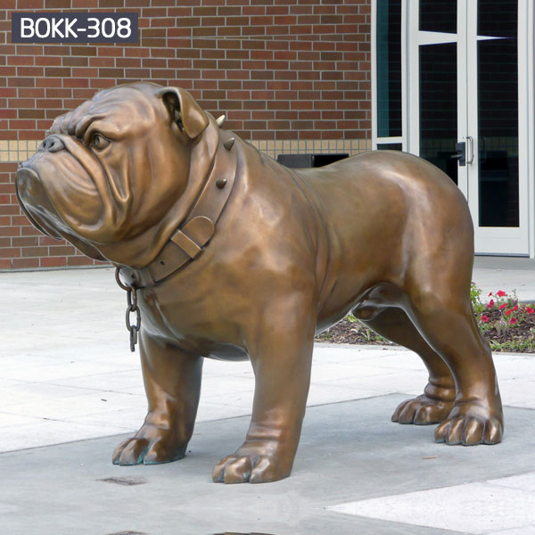 Bronze bulldog statue life size animal  garden sculpture for sale BOKK-308