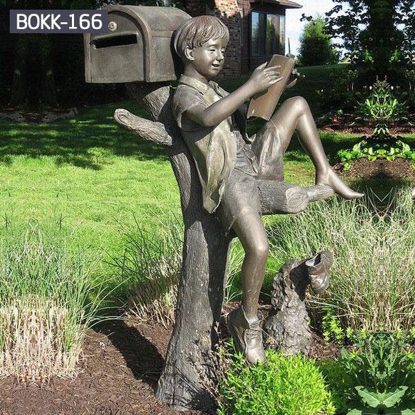 Bronze garden statue little boy with mailboxes outdoor BOKK-166