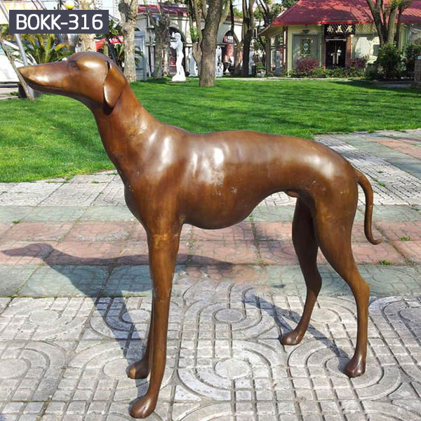 Bronze greyhound dog statues for outdoor garden decor BOKK-316