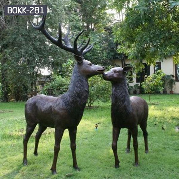 Bronze metal deer outdoor yard lawn ornaments designs BOKK-281