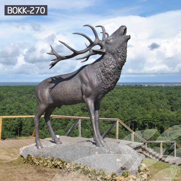 Bronze stag statue garden life size outdoor metal sculptures for sale BOKK-270