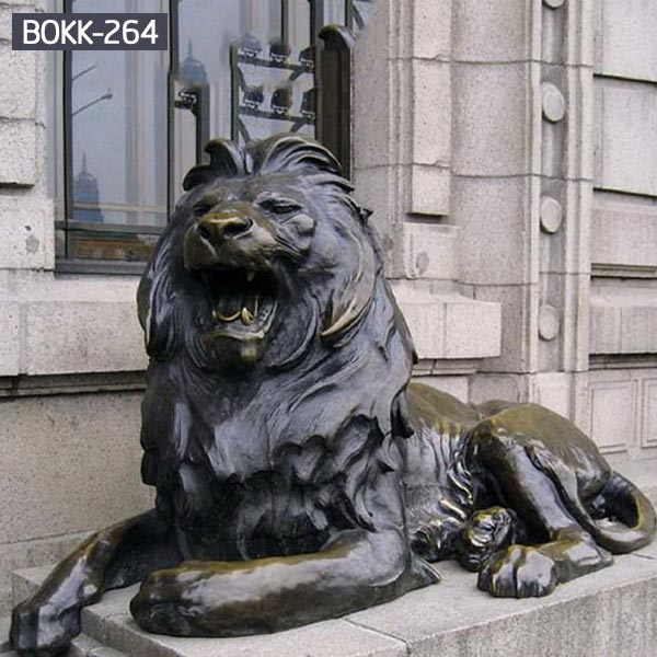Buy big bronze sitting roaring lion for driveway BOKK-264