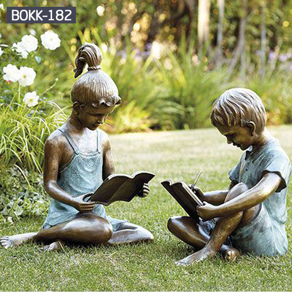 Buy boy girl reading garden bronze statues for outdoor lawn decor BOKK-182