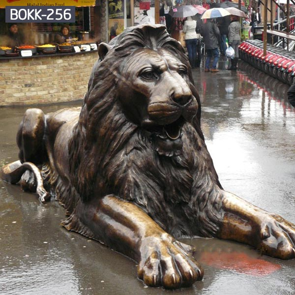 Buy brass sitting lion for outdoor lawn ornaments BOKK-256
