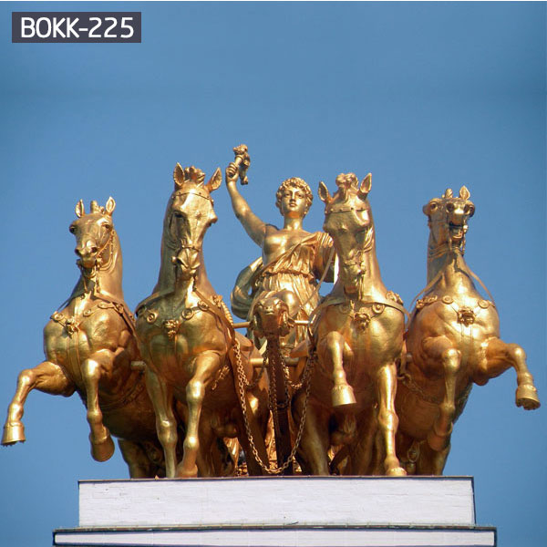 Buy decorative gold Chariot outdoor bronze garden sculpture designs online BOKK-225