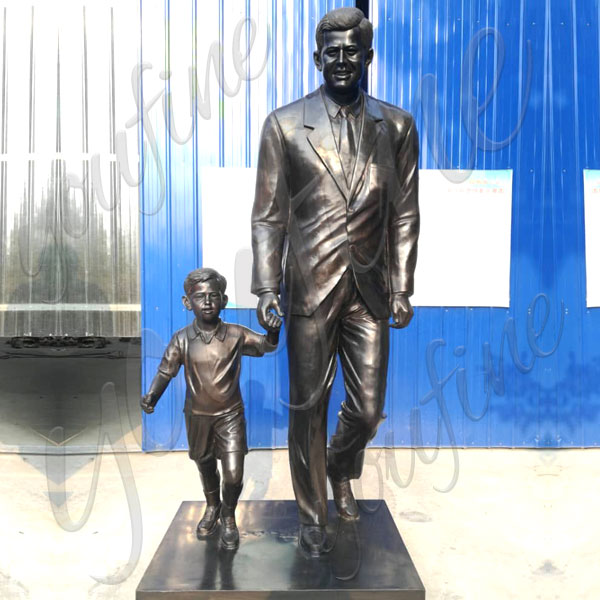 Custom made Kennedy and child personalized bronze memorial statues from a photo BOKK-512