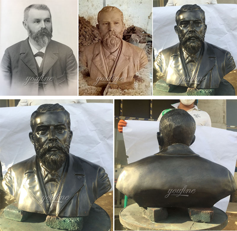 Custom made bronze bust head statues from a photo process