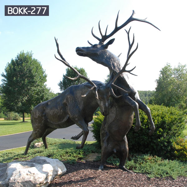 Fighting antique bronze stag statue life size outdoor BOKK-277