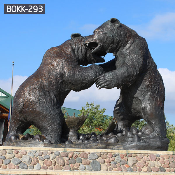 Fighting life size grizzly bear bronze casing garden statues outdoor decor BOKK-293