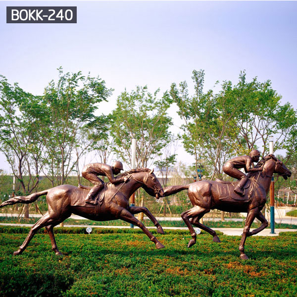 Full size antique bronze horse racing statues for sale  BOKK-240