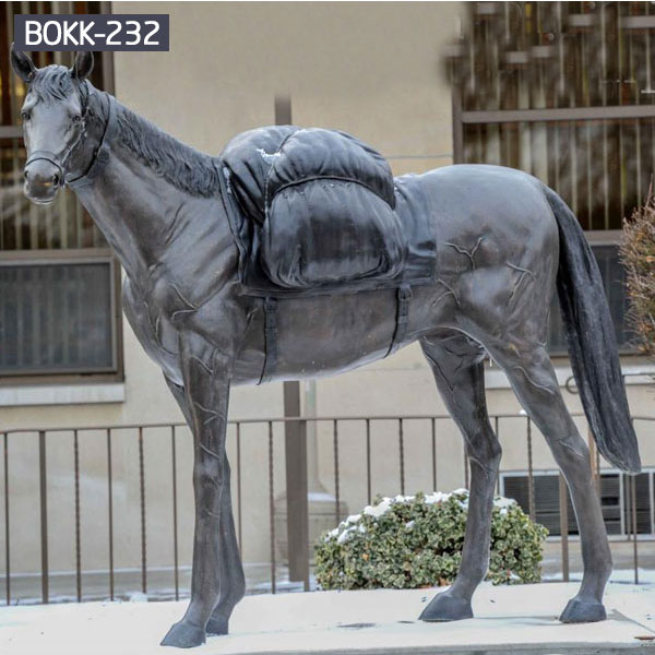 Full Size Black Bronze Horse Standing With Backpack Animal