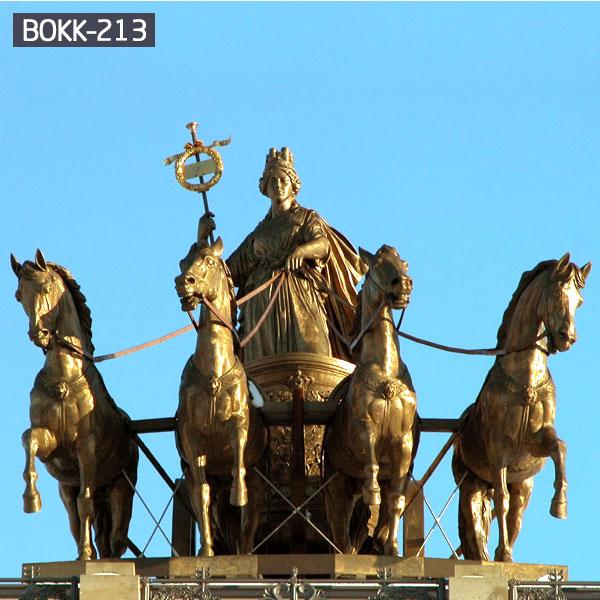 Full size bronze decorative Chariot horse for outdoor garden decor BOKK-213