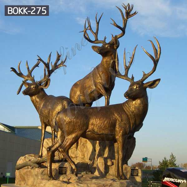 Large Size Outdoor Bronze Stag Statues for Garden Ornaments Supplier BOKK-275