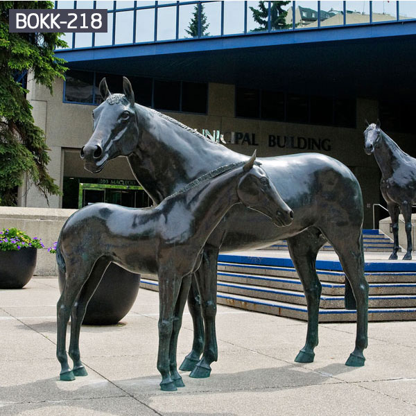 Large black bronze horse mare and foal outdoor statue for sale BOKK-218
