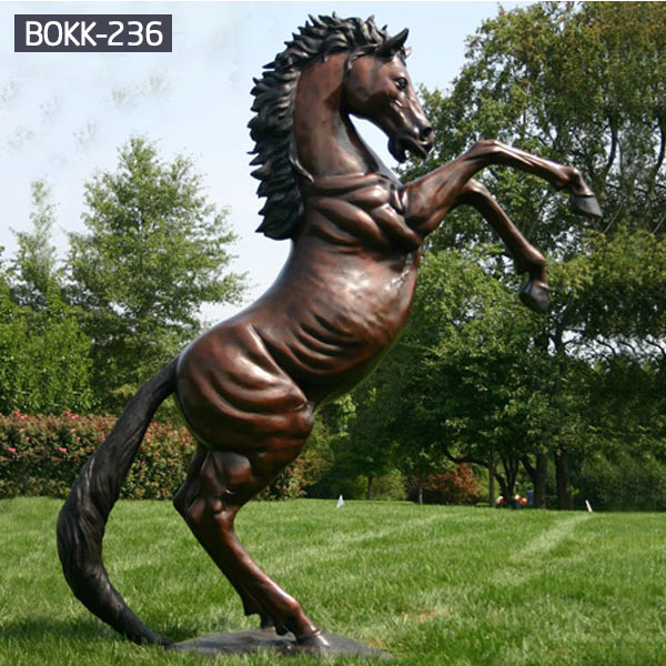 Large black rearing bronze horse garden animal statue australiaBOKK-236