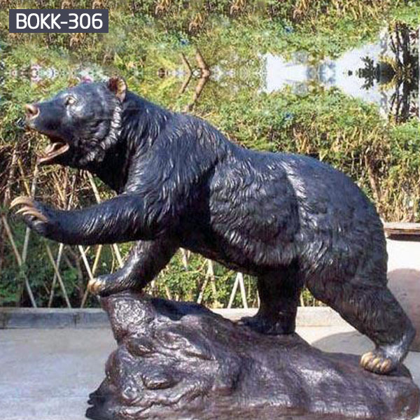 Large bronze grizzly bear statue garden decor for sale BOKK-306