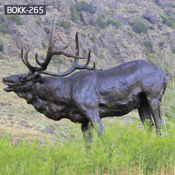 Large bronze moose sculpture garden wildlife statues for sale BOKK-265