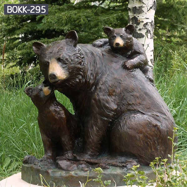 Large brown mother bear and little cub garden outdoor ornaments BOKK-295