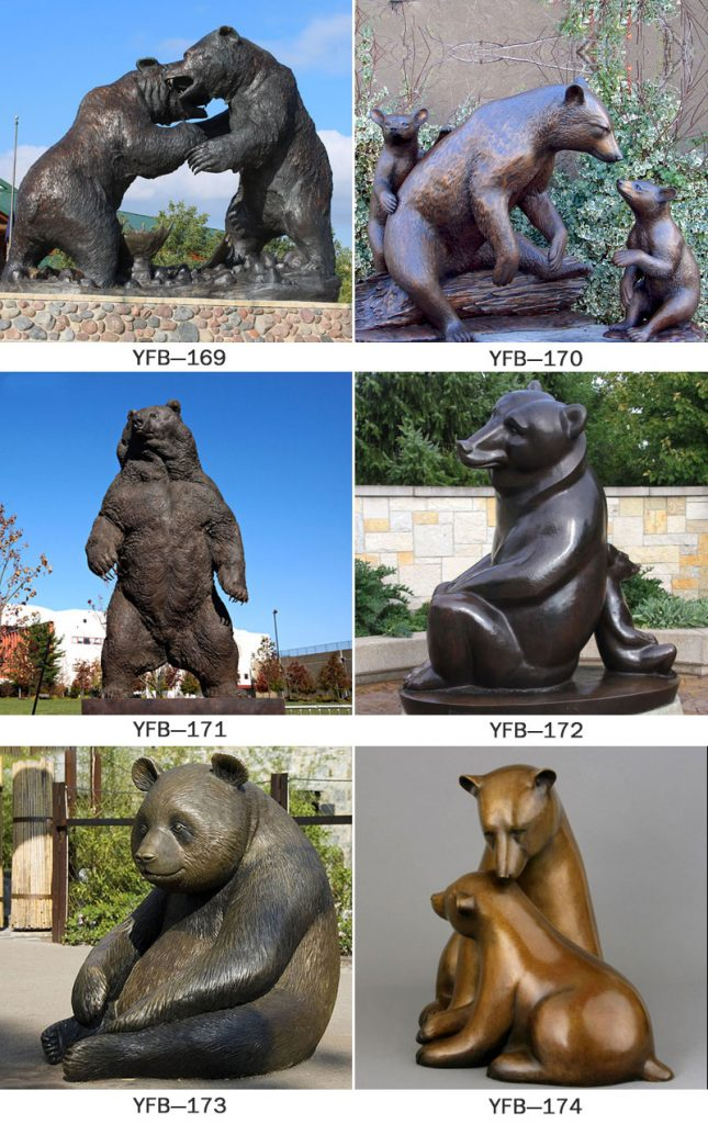 Large life size outdoor bronze black bear garden statues for lawn ornaments designs