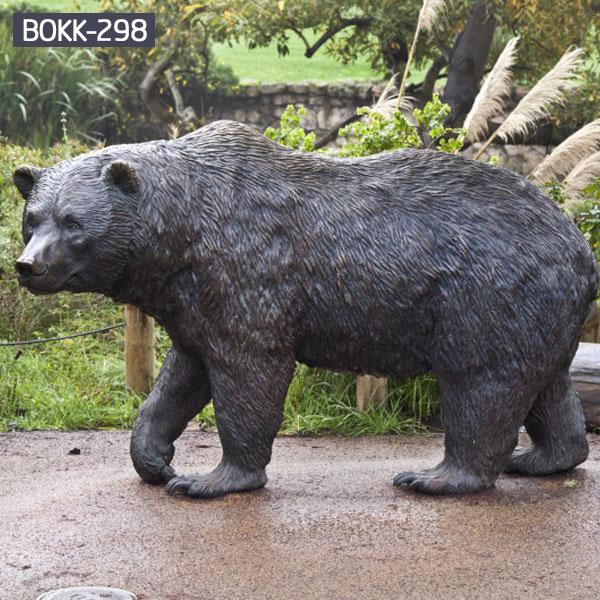 Large outdoor bronze black bear garden statues for lawn ornaments BOKK-298