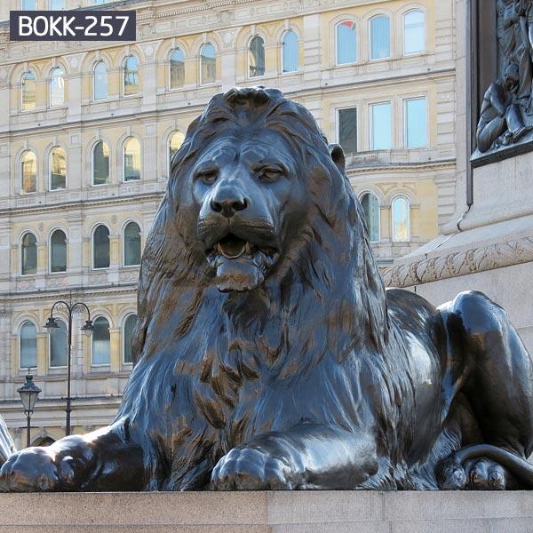 Large outdoor metal sitting roaring lion yard bronze art BOKK-257