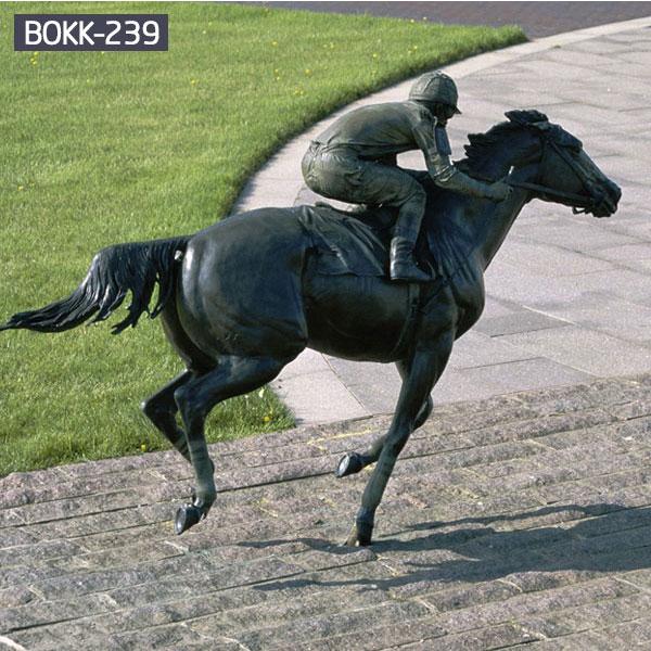 Large vintage bronze horseman garden animal statue for sale BOKK-239