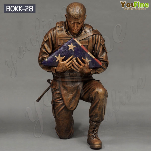 Life Size Military American Solider Flag hHolder Statue for Sale BOKK-28