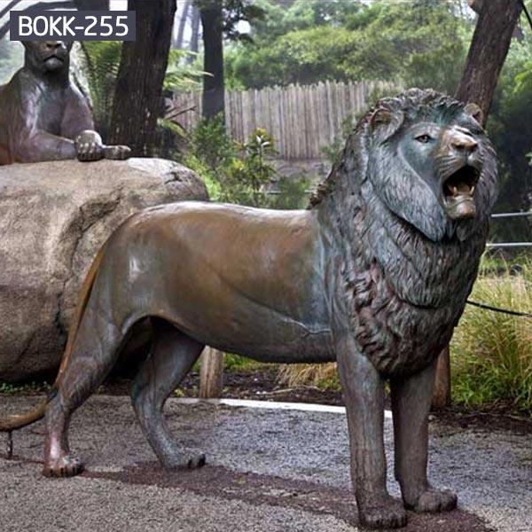 Life size antique bronze roaring lion for garden BOKK-255