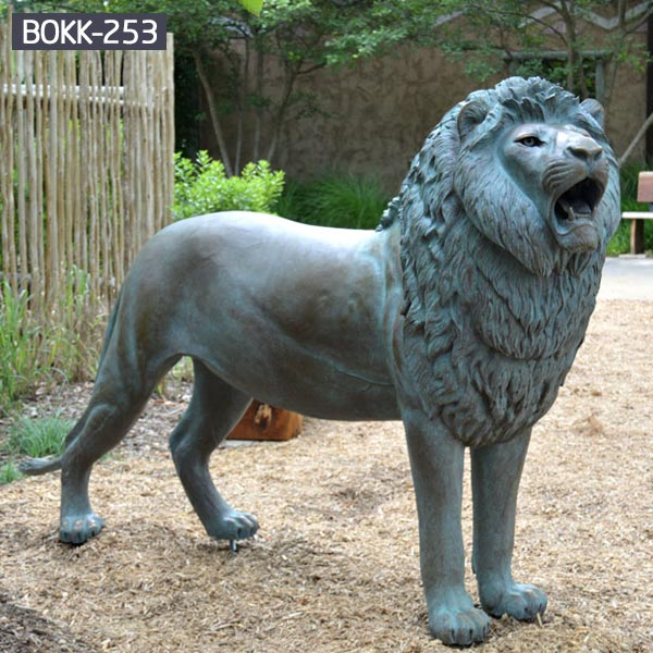 Life size antique metal sculpture standing roaring lion lawn ornaments BOKK-253