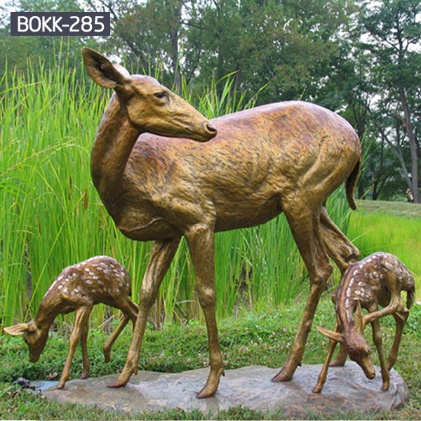 Life size bronze deer and fawn outdoor lawn ornaments for sale BOKK-285