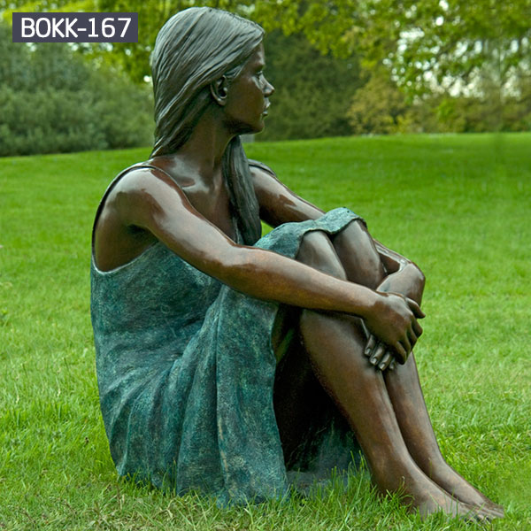 Life size bronze sitting woman garden statue for lawn ornaments BOKK-167