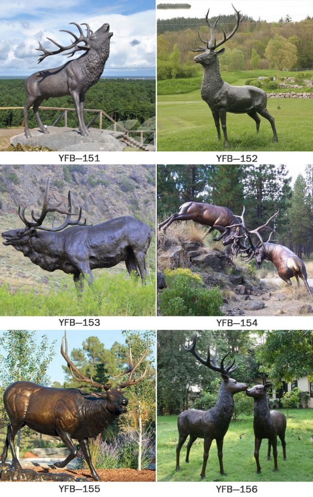 Life size bronze stag statue garden outdoor decoration designs
