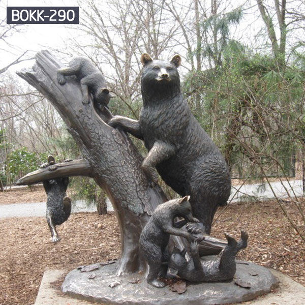 Life size mother bear and cub climbing tree garden bronze statues BOKK-290