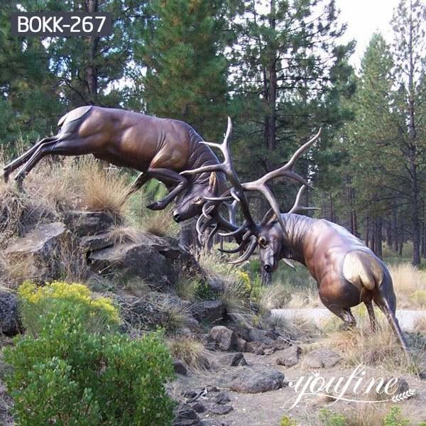Outdoor Casting Life Size Bronze Elk Fight Statue for Sale BOKK-267