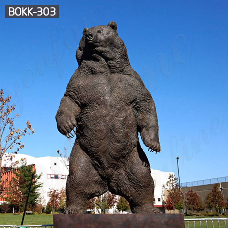 Outdoor Large Standing Bronze Grizzly bear Statue