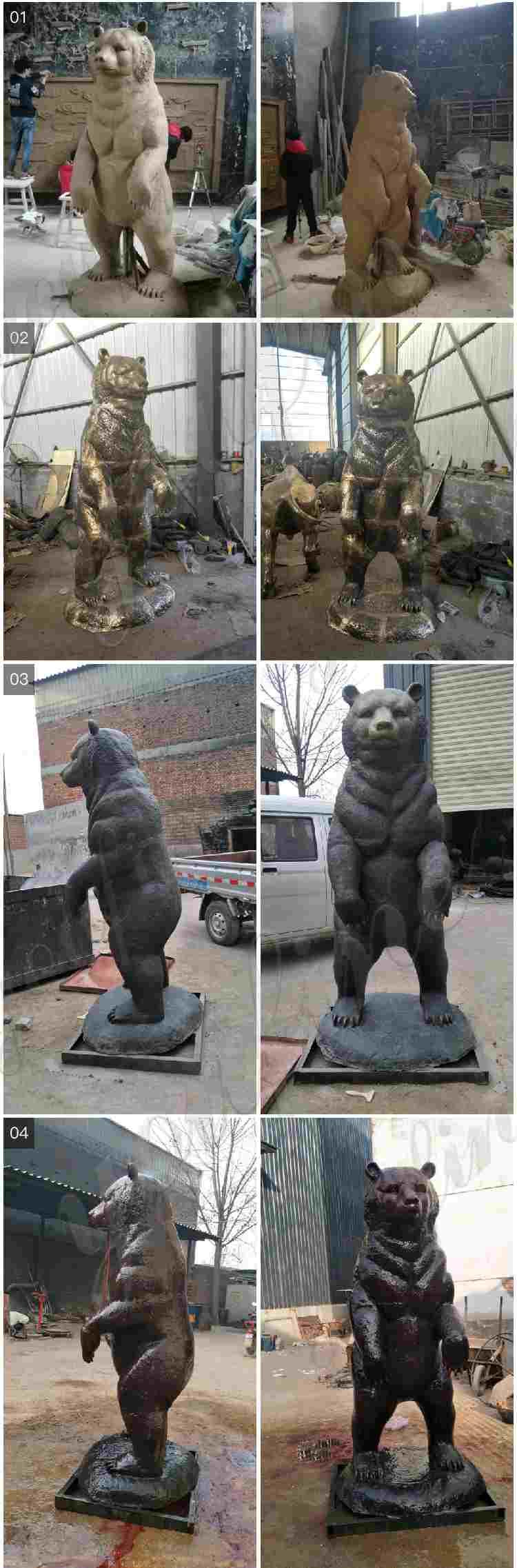 Outdoor Large Standing Bronze bear Statue BOKK-303
