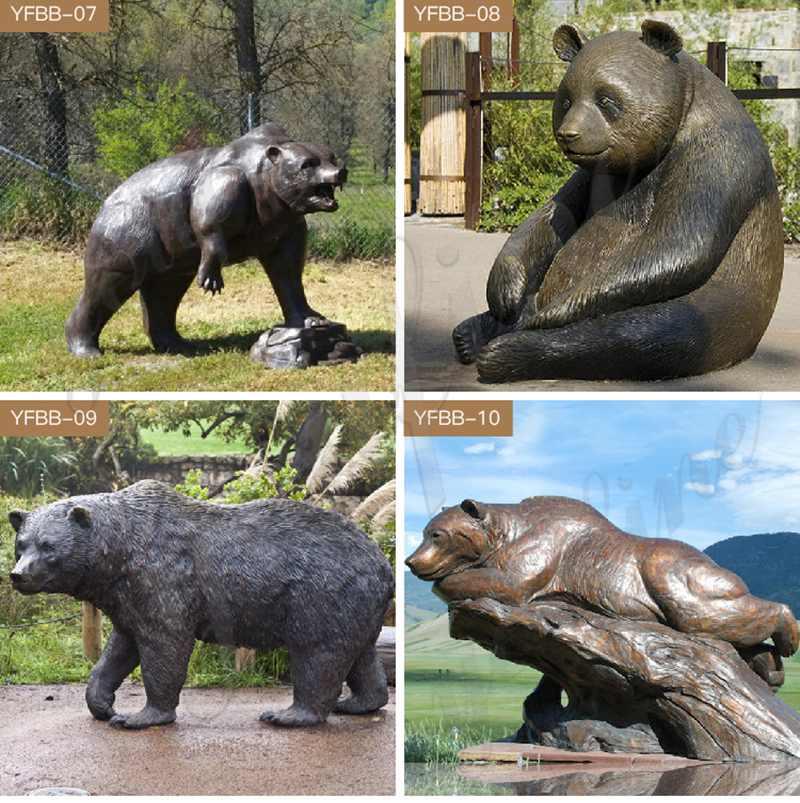 Outdoor Standing Bronze Grizzly bear Statue BOKK-303
