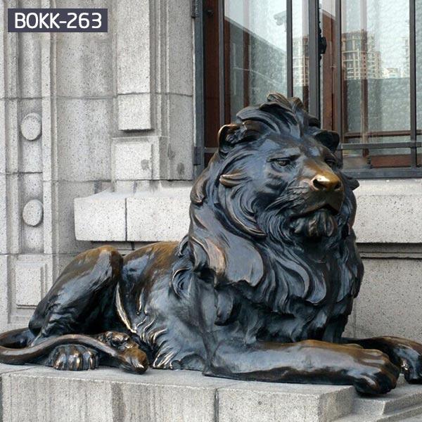 Outdoor antique bronze life size sitting lion art BOKK-263