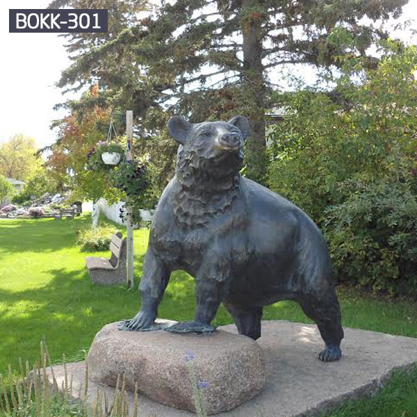 Outdoor bronze life size black bear garden statues for sale BOKK-301