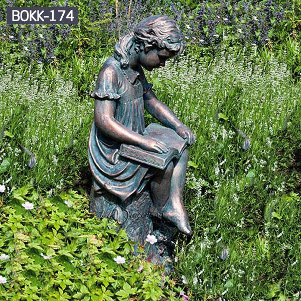 Outdoor garden decor bronze reading girl statues online sale BOKK-174
