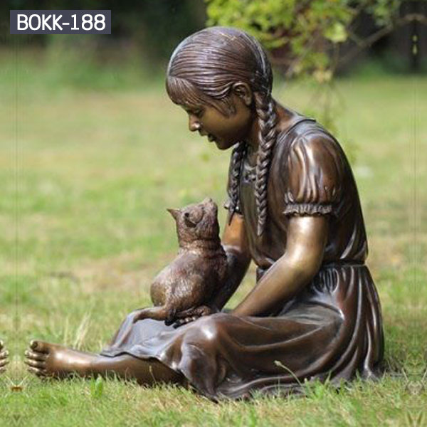 Outdoor garden lawn ornaments bronze stting girl reading books and cat designs BOKK-188