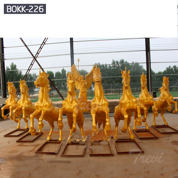 Outdoor large gold decorative bronze Chariot horse garden sculptures for sale BOKK-226